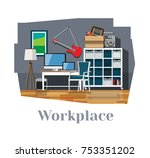workplace. workplace interior.... | Shutterstock .eps vector #753351202