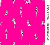 pin up girls bright pink... | Shutterstock .eps vector #753357235