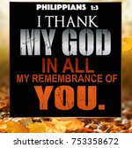 thanksgiving philippians 1 3 | Shutterstock . vector #753358672