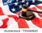 wooden judge gavel and... | Shutterstock . vector #753360835