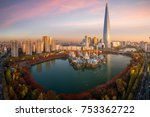 travel point and tower and... | Shutterstock . vector #753362722