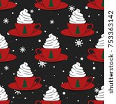 seamless pattern with cups ...   Shutterstock .eps vector #753363142