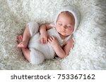 beautiful newborn baby boy ... | Shutterstock . vector #753367162