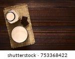chocolate milk drink in glass... | Shutterstock . vector #753368422