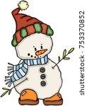 cute little snowman  | Shutterstock .eps vector #753370852