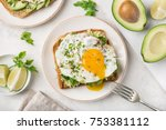 toast with avocado  spinach and ...   Shutterstock . vector #753381112