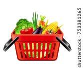 vegetables in supermarket... | Shutterstock .eps vector #753381265