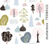 Seamless pattern with abstract trees, forest elements. Creative woodland height detailed background. Perfect for kids apparel,fabric, textile, nursery decoration,wrapping paper.Vector Illustration