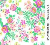 neon flower print   seamless... | Shutterstock .eps vector #753383776
