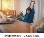 young women business relaxing... | Shutterstock . vector #753384208