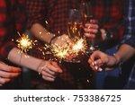 five beautiful girls in new... | Shutterstock . vector #753386725