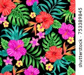 vector tropical seamless... | Shutterstock .eps vector #753389845