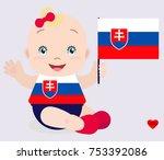 smiling baby toddler  girl...   Shutterstock .eps vector #753392086