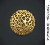 3d gold wireframe ball isolated ... | Shutterstock . vector #753392512