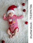 christmas portrait of cute... | Shutterstock . vector #753394786