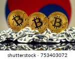 physical version of bitcoin ... | Shutterstock . vector #753403072