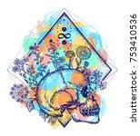 human skull through which... | Shutterstock .eps vector #753410536