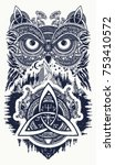 owl and celtic dragons tattoo... | Shutterstock .eps vector #753410572