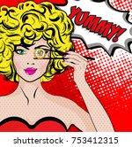 pop art young woman eating... | Shutterstock .eps vector #753412315