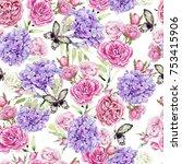 beautiful romantic watercolor... | Shutterstock . vector #753415906