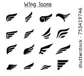 wing icon set | Shutterstock .eps vector #753419746