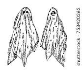 ghost illustration. doodle...   Shutterstock . vector #753420262