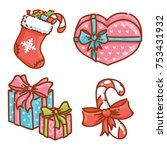 gifts  present boxes  candy and ... | Shutterstock .eps vector #753431932