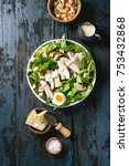 classic caesar salad with... | Shutterstock . vector #753432868