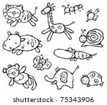 silhouettes of cute animals. | Shutterstock .eps vector #75343906