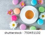 photo of cake macarons  gift... | Shutterstock . vector #753451132