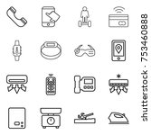 thin line icon set   phone ... | Shutterstock .eps vector #753460888