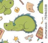 unique cute cartoon seamless...   Shutterstock .eps vector #753461038