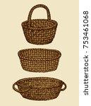 aged willow bast flower pottle... | Shutterstock .eps vector #753461068