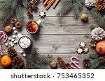 christmas festive decoration... | Shutterstock . vector #753465352