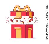 line icon of christmas gift box ... | Shutterstock . vector #753472402