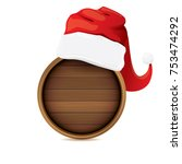 vector red santa hat with...   Shutterstock .eps vector #753474292