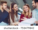 young team of coworkers making... | Shutterstock . vector #753479842