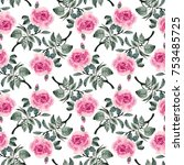 seamless pattern with red roses ... | Shutterstock . vector #753485725