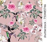 watercolor seamless pattern... | Shutterstock . vector #753485746