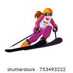 cartoon alpine skiing  girl ... | Shutterstock .eps vector #753493222