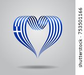 greek flag heart shaped wavy... | Shutterstock .eps vector #753501166