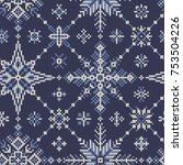 seamless knitted pattern from... | Shutterstock .eps vector #753504226