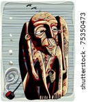shaman with pipe tribal graphic ... | Shutterstock .eps vector #75350473