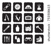survival kit icons. grunge... | Shutterstock .eps vector #753508615