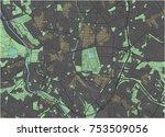 madrid vector map with dark... | Shutterstock .eps vector #753509056