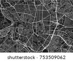 black and white vector city map ... | Shutterstock .eps vector #753509062