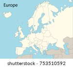 map of europe with country... | Shutterstock .eps vector #753510592