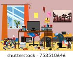 illustration of a disorganized... | Shutterstock .eps vector #753510646