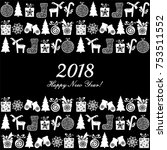 2018 happy new year greeting... | Shutterstock .eps vector #753511552