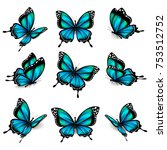 Stock vector beautiful blue butterflies isolated on a white 753512752